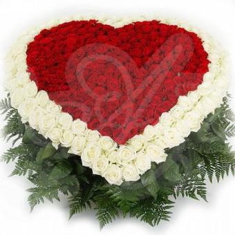 Сердце из 201 розы и зелени