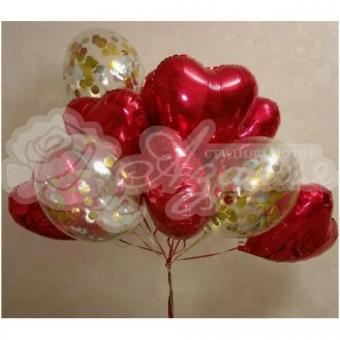 Фонтан из шаров «Сердца и конфетти»