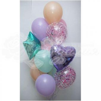 Фонтан из шаров «Фиолетово-бирюзовые»